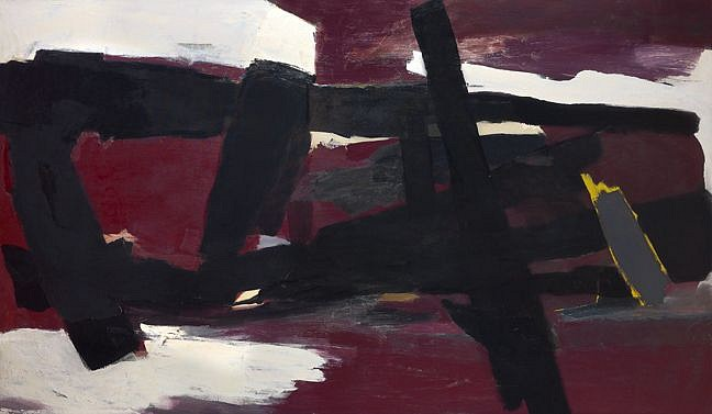Perle Fine ,   Winter (Charcoal Red) | SOLD  ,  c. 1960     Oil on canvas ,  52 x 90 in. (132.1 x 228.6 cm)     SOLD © AE Artworks     FIN-00029