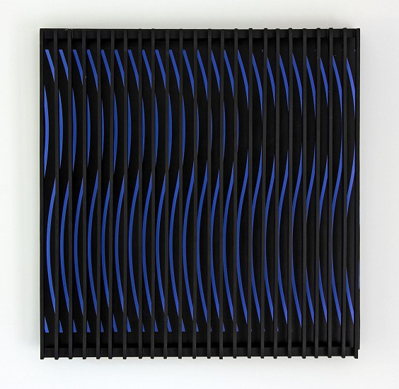 John Goodyear ,   Blue and Brown Kinetic Construction | SOLD  ,  1964     Acrylic on canvas and wood ,  24 x 24 x 5 in. (61 x 61 x 12.7 cm)     SOLD     GOO-00024