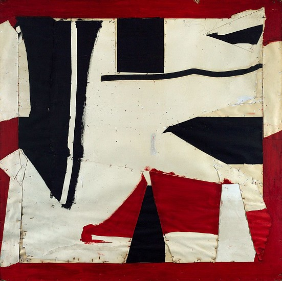 Larry Zox ,   Banner  ,  1962     Collage, oil, staples on board ,  72 x 72 in. (182.9 x 182.9 cm)     ZOX-00016