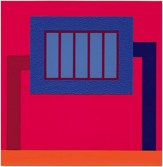 Peter Halley ,   Reign  ,  2013     Acrylic, day-glo acrylic, and Roll-a-Tex on canvas ,  53 x 61 4/5 in. (134.6 x 157 cm)     HAL-00001