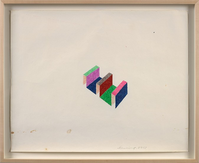 Thomas Downing ,   Untitled  ,  1968     Oil crayon on paper ,  18 3/4 x 23 3/4 in. (47.6 x 60.3 cm)     DOW-00002