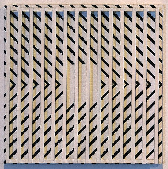 John Goodyear ,   Diagonals Over Yellow  ,  1995     Acrylic on canvas and wood ,  14 x 14 x 3 in. (35.6 x 35.6 x 7.6 cm)     GOO-00039