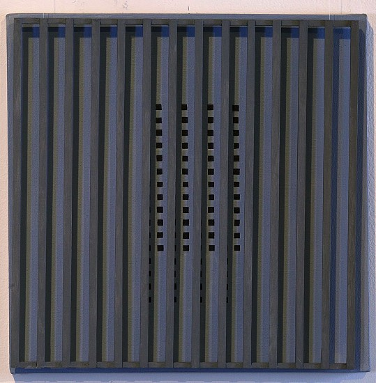 John Goodyear ,   Gray Motion  ,  1995     Acrylic on canvas and wood ,  14 x 14 x 3 in. (35.6 x 35.6 x 7.6 cm)     GOO-00040