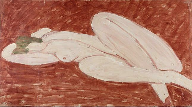 Stephen Pace ,   Reclining Nude, Venetian Red Ground (65-10) | SOLD  ,  1965     Oil on canvas ,  38 x 68 in. (96.5 x 172.7 cm)     PAC-00176