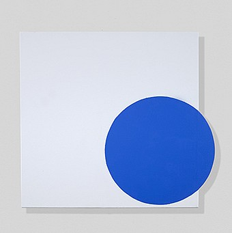 John Goodyear ,   Blue, On and Off  ,  2018     Acrylic on canvas over wood ,  20 x 21 3/4 in. (50.8 x 55.2 cm)     GOO-00059