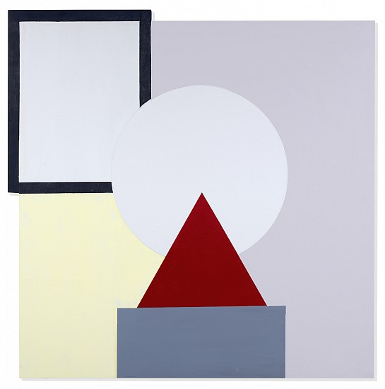John Goodyear ,   Red Triangle on Gray  ,  2018     Acrylic on canvas ,  37 1/4 x 37 in. (94.6 x 94 cm)     GOO-00062