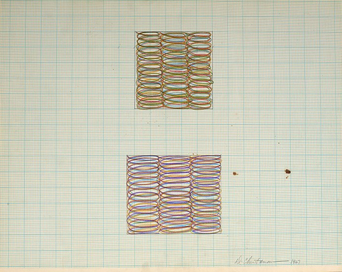 Dan Christensen ,   Untitled  ,  1967     Acrylic on graph paper ,  17 1/2 x 22 in. (44.5 x 55.9 cm)     CHR-00286