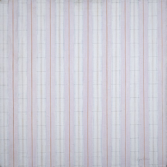 Perle Fine ,   Accordment Series #17, Bright and Lily White  ,  1977     Acrylic on canvas ,  22 x 22 in. (55.9 x 55.9 cm)     © A.E. Artworks LLC     FIN-00105