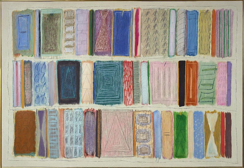 Ida Kohlmeyer ,   Color Stripes  ,  1980     Mixed media on canvas ,  49 x 71 1/2 in. (124.5 x 181.6 cm)     KOH-00025