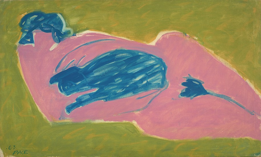 Stephen Pace ,   Pink Nude with Blue Cat (63-7)  ,  1963     Oil on canvas ,  26 x 43 x 3/4 in. (66 x 109.2 x 1.9 cm)     PAC-00252