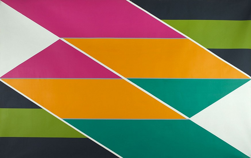 Larry Zox ,   Teepees Pillars  ,  1965     Acrylic on canvas ,  84 x 132 in. (213.4 x 335.3 cm)     ZOX-00050