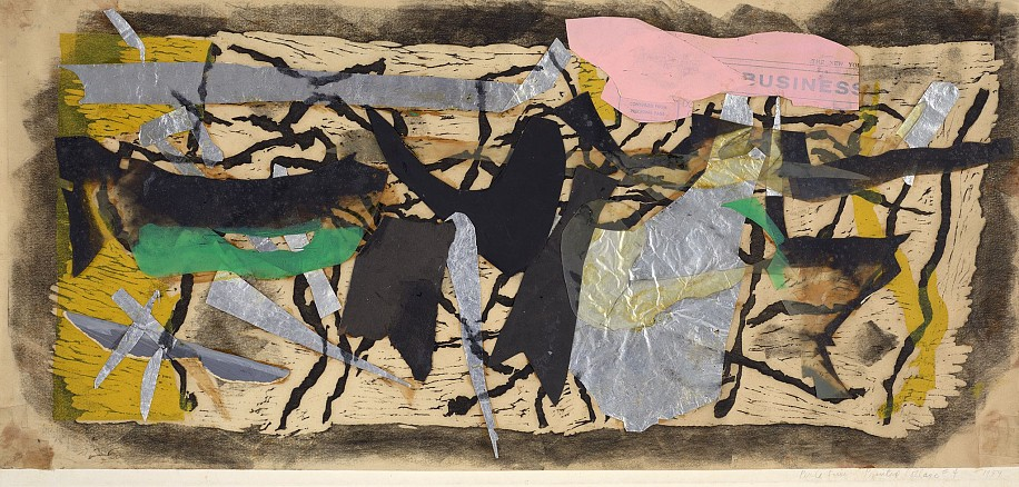 Perle Fine ,   Printed Collage #4  ,  1959     Woodcut and Collage on paper ,  12 x 25 7/8 in. (30.5 x 65.7 cm)     FIN-00122